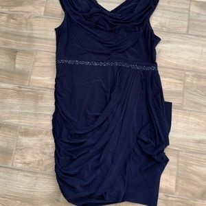 Navy tulip dress with beaded belt detail